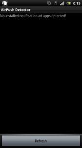 Airpush 広告を表示するアプリがインストールされていなかったときの画面